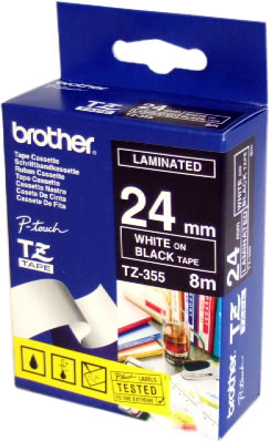 TZ-355 Brother P-Touch Tape (white on black 24mm) TZ355 Original