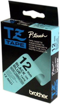 TZ-N531 Brother P-Touch Tape (black on blue non-laminated 12mm) TZN531 Original