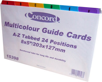8 x 5 Indigo/® Coloured Guide Record Cards Reinforced A-Z White with Tabs Multicoloured