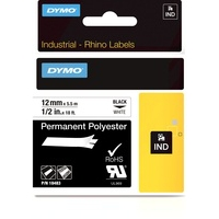 Dymo Rhino 12mm Black on White Permanent Polyester Tape 18483