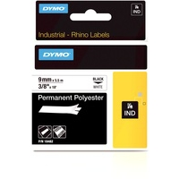 Dymo Rhino 9mm Black on White Permanent Polyester Tape 18482