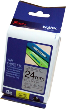 Brother TZe-M951 P-Touch Tape (matt black on silver 24mm) Original