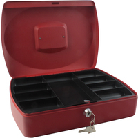 Cash Box 12 inch Red with solid steel construction by Cathedral