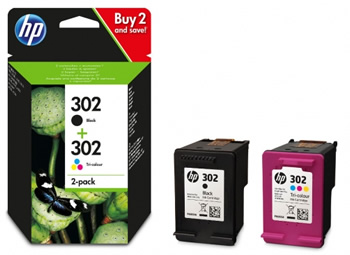 hp 302 black and colour value ink pack x4d37ae original. Black Bedroom Furniture Sets. Home Design Ideas