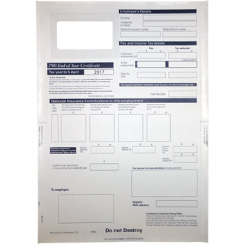 Sage P60 2018/2019 End of Year Self Seal Mailer Forms Compatible (Pack of 100 Forms)