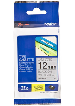 Brother TZe-M931 P-Touch Tape (matt black on silver 12mm) Original
