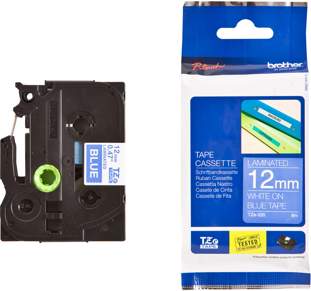 2 x Brother Compatible P-Touch Tape for H101F PT-H101F 12mm WHITE on BLACK