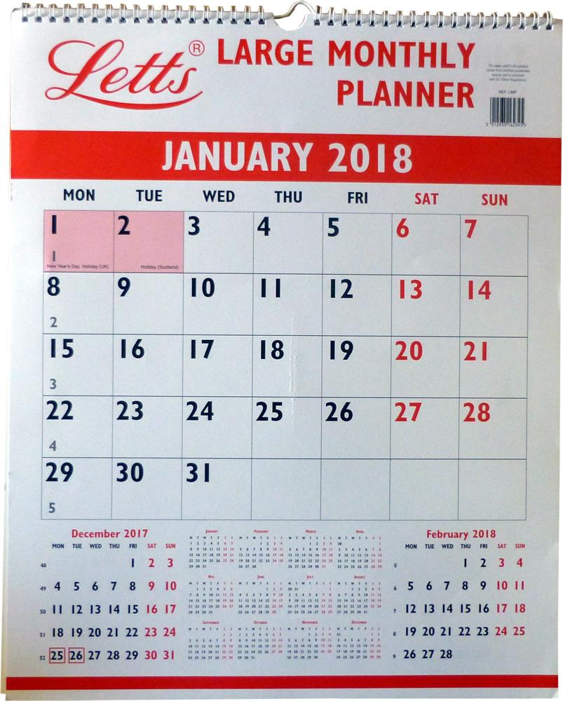 Large Calendar Planner : Letts large monthly planner calendar tlmp