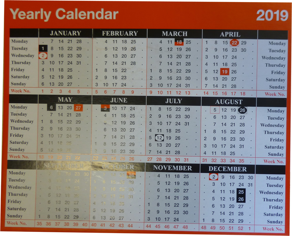 year to view calendar 257x210mm kfyc119 2019