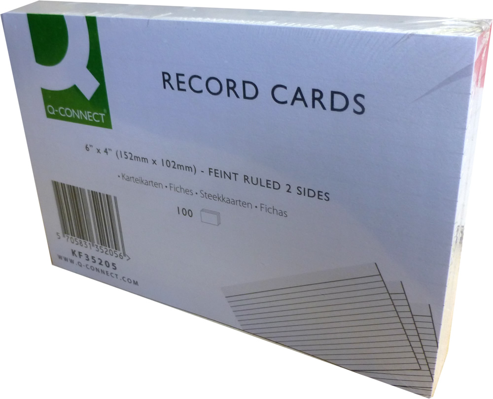 Q-Connect Record Card 6 x 4 Inches Ruled Feint White Pack of 100 KF35205
