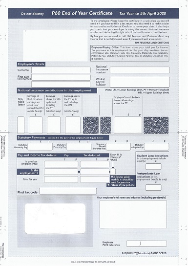 Sage P60 2020/2021 HMRC End of Year Self Seal Mailer SPC60 (Pack of 10 Forms)